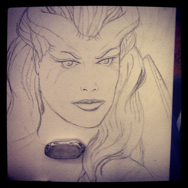 #start #sketch #Queen #of #pain #dota #dota2 #queenofpain #drawing #drawn #painting #alone