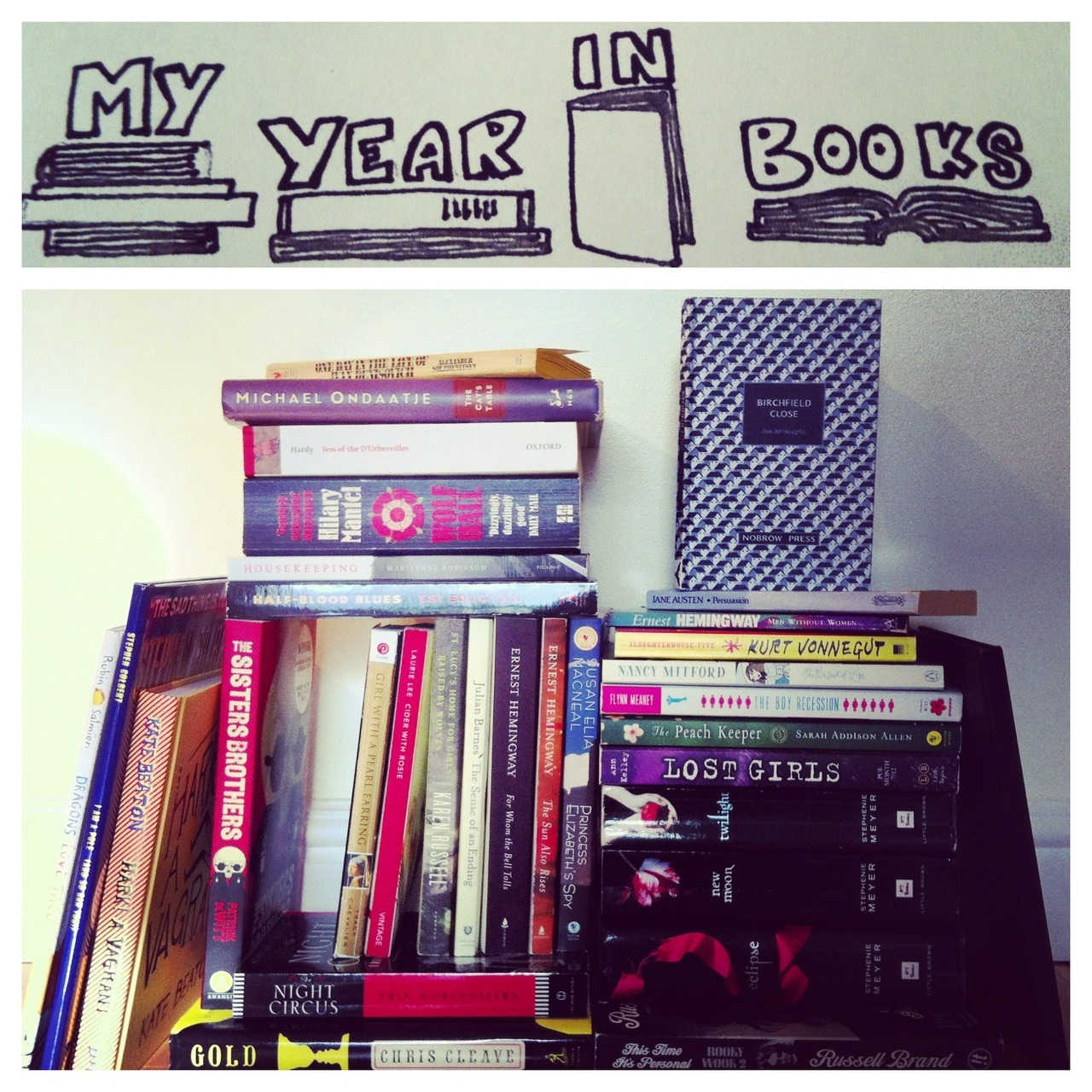 hemmingwhale:   My Year In Books (a visual approximation) This year I pledged to read fifty novels. As we close in on December 31st, I'm almost there (46!), and determined to finish. It started as a simple volume challenge, and one I thought I could easily succeed at. I've always read a lot; it was my job when studying English Lit for my undergrad, and my escape from my 'real world' corporate publishing job. The project has taken on new meaning as I contemplate the 2012 list that has emerged. I've never previously recorded what I read and the simple task of listing my progress is quite revealing (yes, you can see both Twilight and Tess of the d'Urbervilles in that pile). The most important rule has become: hide nothing. Full list to come.  The above image includes only those books readily available on my shelves, not pictured: library books, lent books, e-books, being-borrowed books.   This is a solid, well-rounded list if we say so ourselves. However we need to give a particular shout out to how you managed to shelve The Sisters Brothers in such a way that it reaches the same level as the books on Ernest Hemingway's row! These are some solid construction skills.