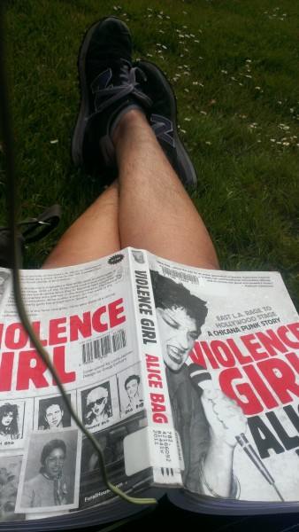 veganemelda:  Leg hair, don't care. Reading about fellow chicana punks in the park.  ~perfect wife~