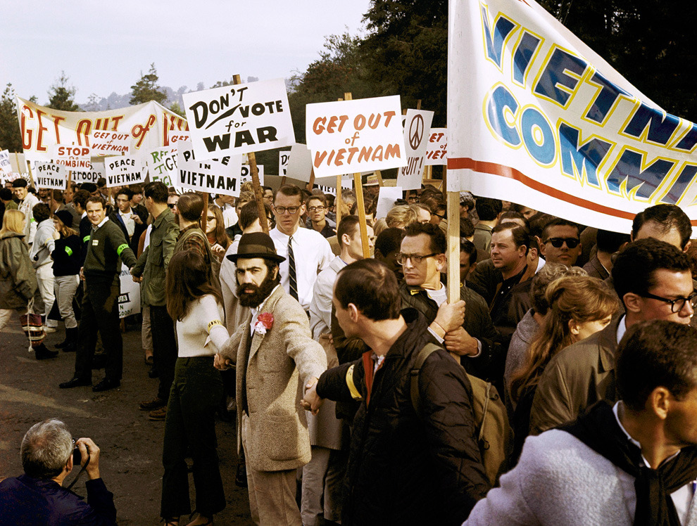 Demonstrators in Berkeley, California march against the war in Vietnam in December of 1965. (AP Photo)