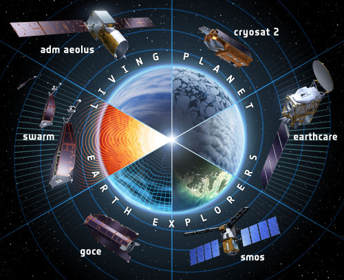 spaceplasma:  ESA's Earth Explorers satellites Artist's view of ESA's Earth Explorers satellites: The GOCE gravity mission launched on 17 March 2009; The magnetic field mission Swarm planned for launch in 2013; The ADM-Aeolus wind mission planned for launch in 2014; The CryoSat ice mission launched on 8 April 2010; The cloud, aerosol and radiation mission EarthCARE planned for launch in 2015; And the SMOS water mission launched on 2 November 2009.