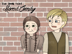 "CHAPTER 25: THE ARYAN SHOPKEEPER Liesel and Rudy bought a piece of candy using a Pfennig (""penny"") they had found on the street. To split the candy fairly, they agreed to get 10 sucks each and that they would take turns on sucking. Rudy thought Liesel was cheating and was taking an extra suck. They argued for a bit — profanely as usual. Then, finally, Liesel passed the candy to Rudy. ""This is great, isn't it?"" ""It sure is, Saumensch."" ♥"