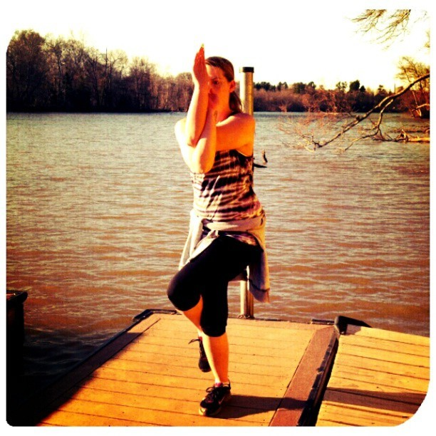 #eaglepose is so not easy to get into on a floating dock, so I learned today … #balance #asana #yoga #yoga2013 #humbleasana #WhitewaterCenter #yogaeverywhere