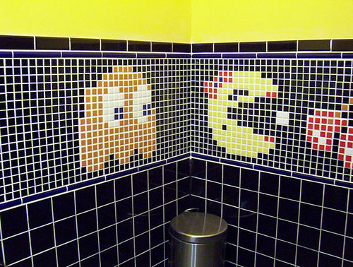 I love these pacman bathroom tiles.