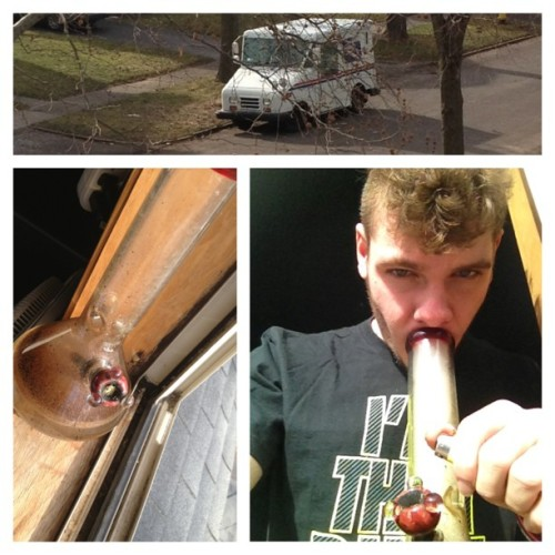 Morning bong out the window with the mailman walking the street. Lol. #weed #reefer #dailymilkers #milky #lighter #420 #smoke #mailman #sexy #mohawk #highsociety #hightimes #marijuana #sunny #bong #wakeandbake (at Being High)