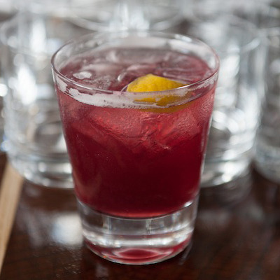 Whisky Seduction: rye mixed with red wine and black currant liqueur.