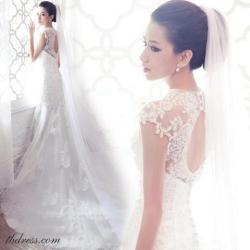tbdress-club:  Mermaid Scoop Neckline Chapel Train Lace Wedding Dress:http://bit.ly/17YARc6