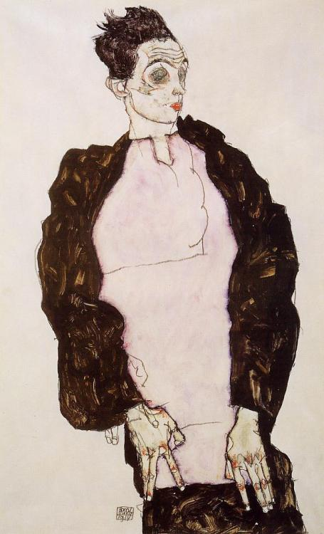 german-expressionists:  Egon Schiele, Self Portrait in Lavender and Dark Suit, Standing, 1914