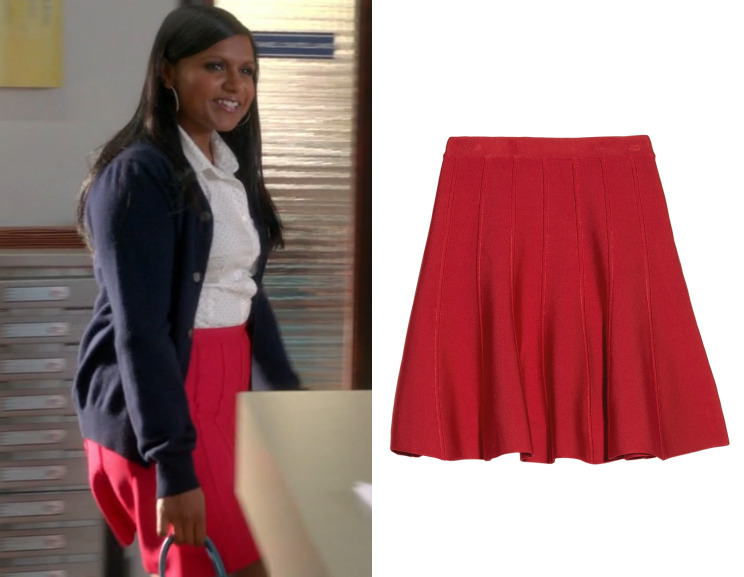 """Softnet's red paneled skirt, seen here in episode 2 of The Softnet Project """"Hiring and Firing"""", is almost half off! Hervé Legér Sabine Flared Bandage Mini Skirt - $445 (was $880) Worn with Commes des Garcons cardigan"""