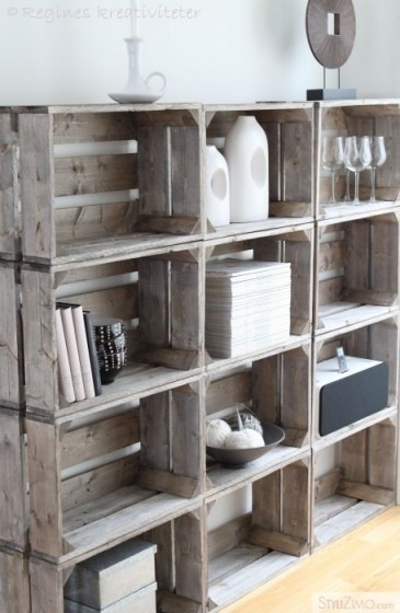 night-home-inspiration:  DIY shelves made from crates!