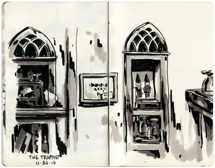 Sketchbook: On Location Various scenes and spaces drawn or painted on location around town. Typically they consist of gouache or pen and ink washes on heavyweight drawing paper. Sketchbook measures 5 x 8 inches.