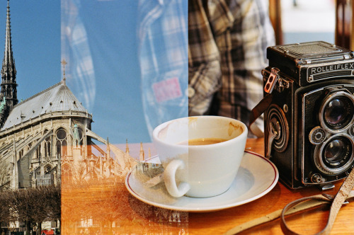 Accidental Double Exposure, Notre Dame and a coffee break (by Nicola Onions)