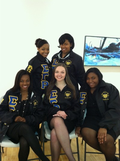 Some of the Sigma Gamma chapter of Sigma Gamma Rho Sorority, Inc. at Southern Connecticut State University. Ee-Yip!