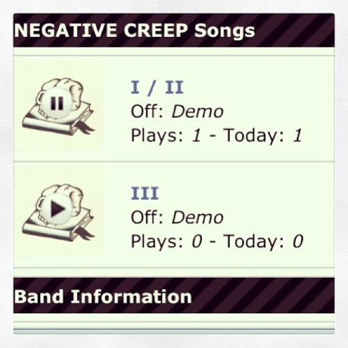 2 NEGATIVE CREEP tracks @ http://negativecreep.stereokiller.com