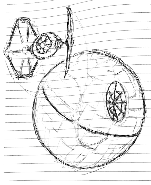 Latest 2 Minute Doodle - Death Star with TIE Fighter