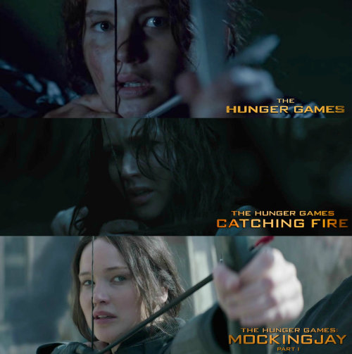 theryyx:  Katniss from THE HUNGER GAMES to MOCKINGJAY