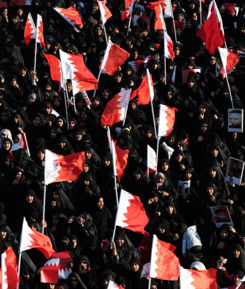 "fotojournalismus:  Bahraini anti-government protesters carry national flags during a march on Feb. 3, 2013, in the western village of Malkiya, Bahrain. Hundreds shouted ""down with the government"" during the march, called by several opposition groups to demand freedom for political prisoners and democracy in the Gulf island kingdom [Credit : Hasan Jamali/AP]"