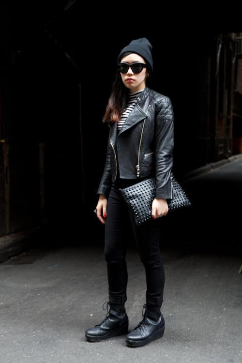 rebel leather rebel style street fashion street style fashion girl melbourne all black outfit stripes