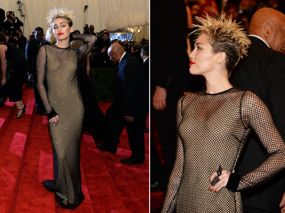 npostlife:  Here's what Miley Cyrus wore to the Metropolitan Museum of Art costume gala in New York City last night. The theme was punkWondering what Beyoncé, Kim Kardashian, Madonna, Lena Dunham and Nicki Minaj wore? Click through for our full gallery.[Photo credits: Timothy A. Clary/AFP/Getty Images; Dimitrios Kambouris/Getty Images]