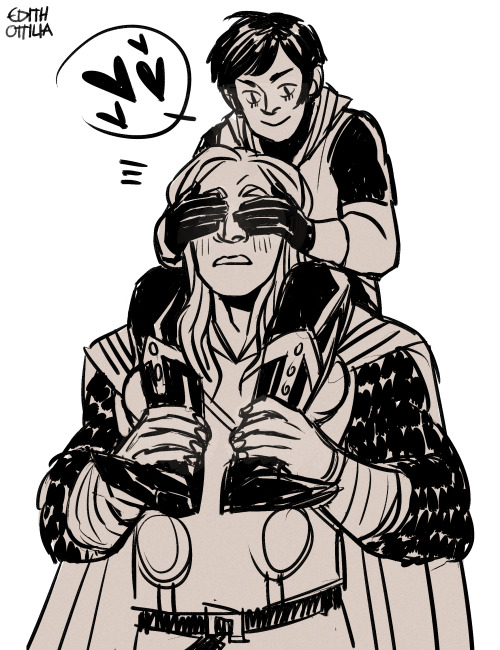 edithottilia:  eikthyrnir asked:   anything with kid Loki and Thor?  ayonoi asked:  Oh if it is not too much trouble I would like to see a doodle of my baby Thor doing something funny.  THIS COUNTS FOR BOTH OF THESE RIGHT