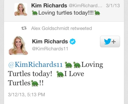 alexandergold:  Kim Richards replies to her own 11-day-old tweet and talks to herself about loving turtles.