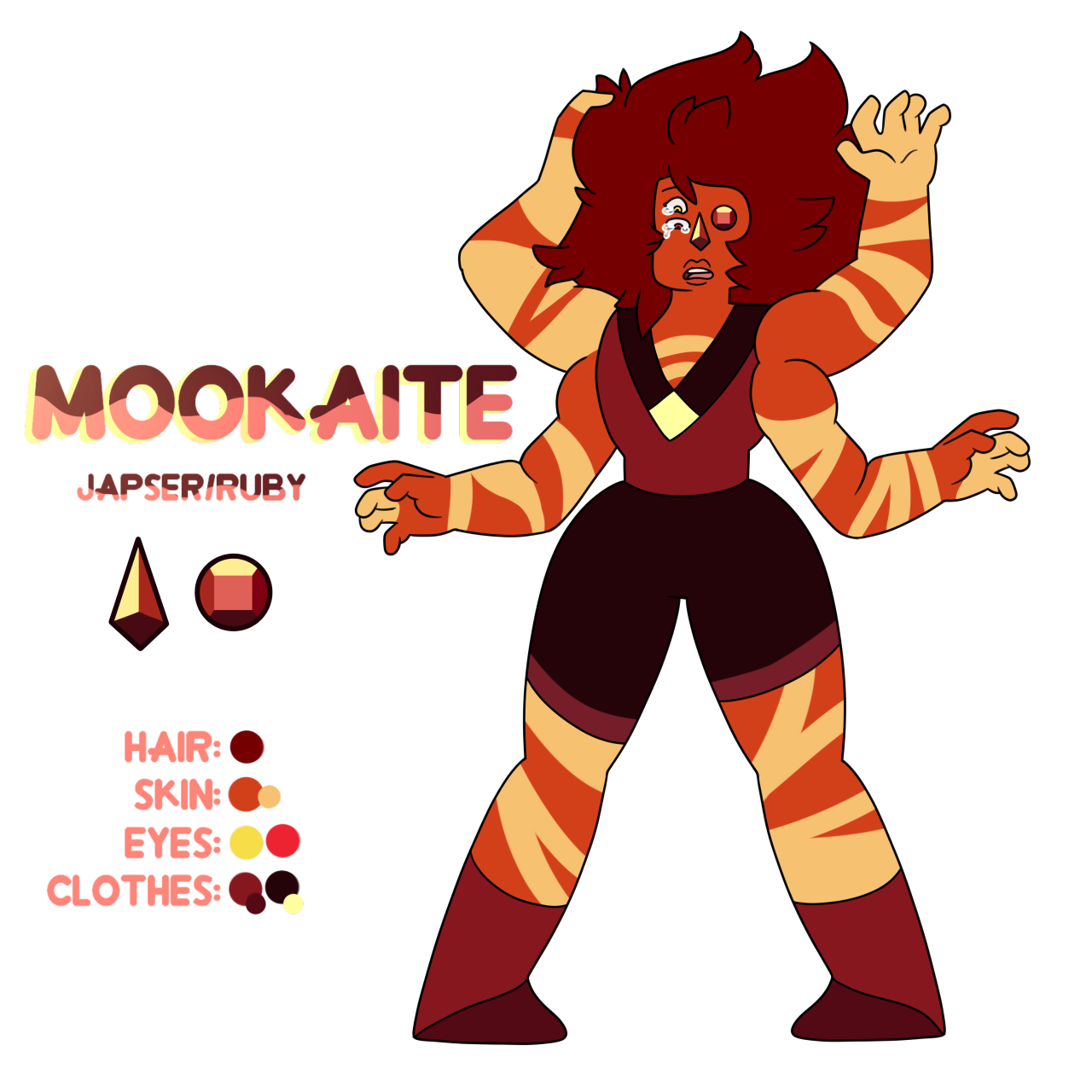 Mookaite, the fusion of Jasper and Eyeball Ruby. This is the first ship with Jasper I can imagine happening as things are at the moment. I feel like they could teach each other a lot and be super...