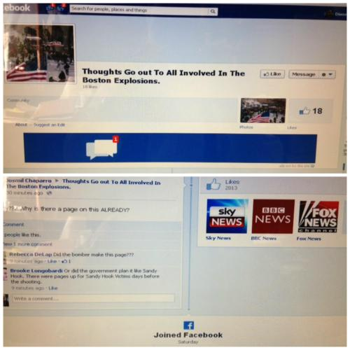 weird-happenings:   Two days ago, a page was created on Facebook for the Boston Marathon incidents. This page is now removed. I feel that we need to spread this.