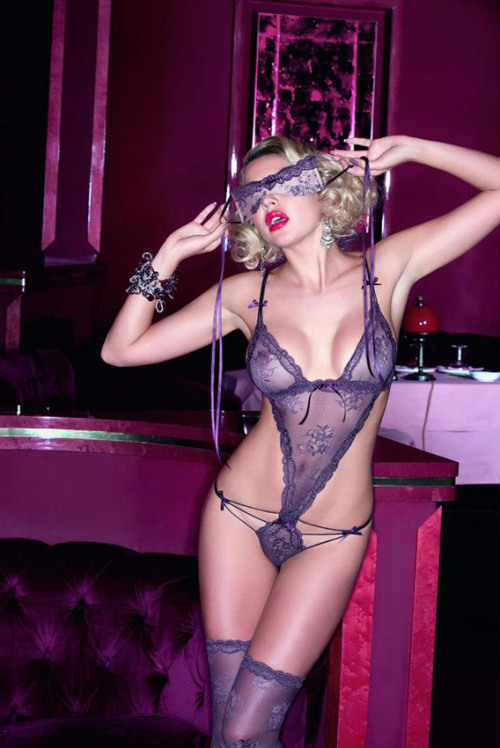 lavinialingerie:  Purple Sheer Lacy Bodysuit #Lingerie & Mask … #Sexy Set