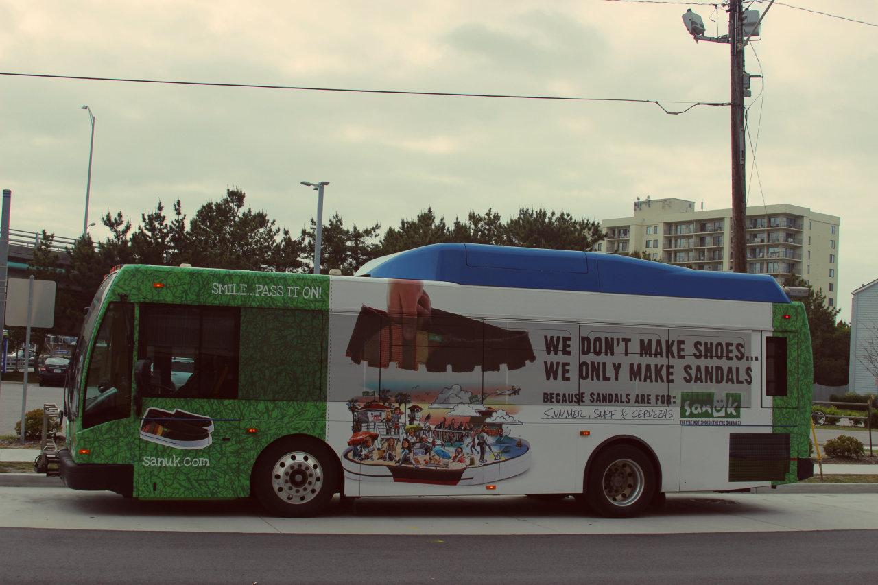 Sanuk HRT bus in Virginia Beach. We're famous!