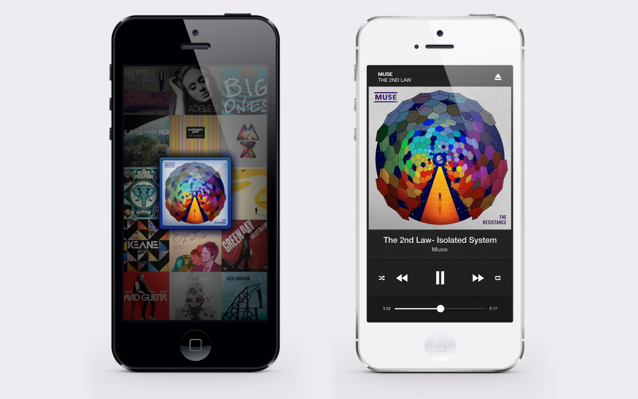 Music gallery and music player screens. Check out a BIG versions in Dribbble