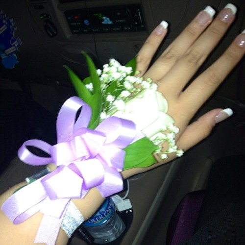 My corsage was so pretty. 💜