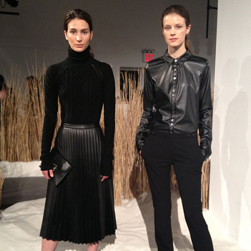Ladylike blouses and skirts look chic in leather at Calvin Klein's fall collection preview.