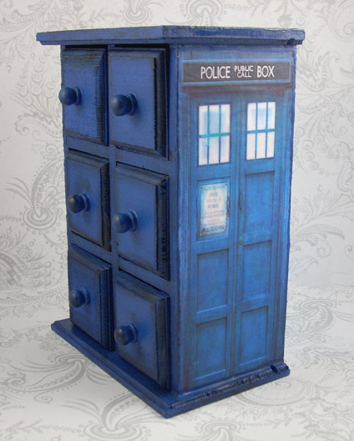 How about storing your jewellery in the Tardis? In 2013 we'll get a rare Doctor Who episode that takes place in the Tardis and it may be quite a spooky place… (via TARDIS Inspired Stash Jewelry Box by pzcreations22 on Etsy)