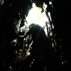 Climbing out of a cave… It was pretty epic…