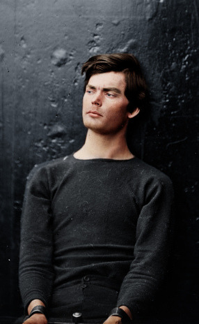 mydaguerreotypeboyfriend:  It's a colorized Lewis Powell! And we're just fine with that…  You'd never know this photo was taken over 150 years ago (with a little modern digital colorising). But … GUH!! He may have been a very bad boy (involved in the assassination of Lincoln), but I like muchly. Yes please.