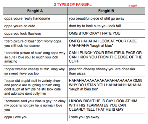 2 TYPES OF FANGIRL Source: @gyusoul