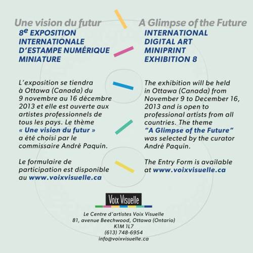 artpr:  Appel aux artistes | Call to artists  APPEL AUX ARTISTES HUITIÈME EXPOSITION INTERNATIONALE D'ESTAMPE NUMÉRIQUE MINIATUREDu 9 novembre…  View Post
