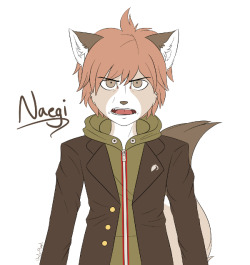 The flat color of my anthro (cat) version of Makoto Naegi. I love how this turned out, especially compared to the sketch I posted a few hours ago. Will be shaded later. And so ends my anthro dangans for now!