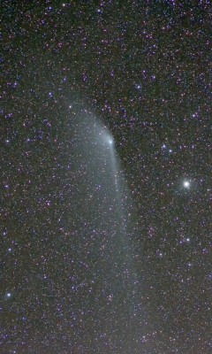 atomstargazer:  APOD | 2013 May 18 | Comet PanSTARRS Anti-Tail  Image Credit & Copyright:  Marco Fulle (INAF)   Explanation:  Once the famous sunset comet, PanSTARRS (C/2011 L4) is now visible all night from much of the northern hemisphere, bound for the outer solar system as it climbs high above the ecliptic plane. Dimmer and fading, the comet's broad dust tail is still growing, though. This widefield telescopic image was taken against the starry background of the constellation Cepheus on May 15. It shows the comet has developed an extensive anti-tail, dust trailing along the comet's orbit (to the left of the coma), stretching more than 3 degrees across the frame. Since the comet is just over 1.6 astronomical units from planet Earth, that corresponds to a distance of over 12 million kilometers. In late May Comet PanSTARRS will pass within a few degrees of the north celestial pole.