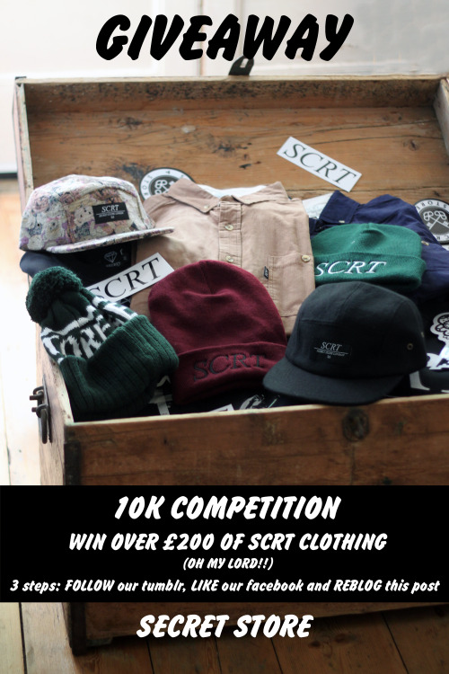Here we go again, as promised our biggest ever giveaway for hitting 10K likes on facebook. You know the drill; FOLLOW our tumblr, LIKE our facebook and REBLOG this post for a chance to win over £200 worth of SCRT clothing including one of our brand new cut & sew cord shirts.  Thank you friends and good luck x(To enter the draw twice share our facebook giveaway here)