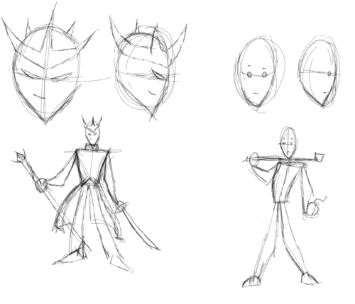 Quick, dirty sketches.  The Demon Prince and the Simple Farmer.  Stylistic practice and a little idea rolling around in my head.