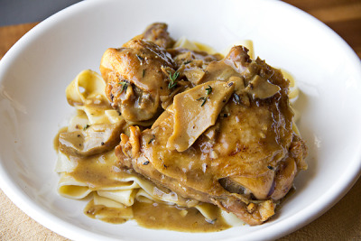 Braised Chicken in Porcini Wine Sauce with recipe (link)