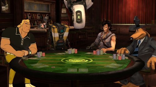 Telltale's Poker Night 2 just recently became available for PC, PS3 and XBOX 360. Has anyone else gotten to dabble into it yet?  You play as a mute character, the other players like to tease and make fun of. The others? Brock Samson from The Venture Bros, Sam, from Sam & Max [Max is also there assisting Sam], Ash Williams from The Evil Dead and ClapTrap from the Borderlands series. The dealer is none other than GLaDOS from the Portal series, being her usual intimidating and insulting self. Mad Moxxi from the Borderlands series serves up drinks, but is ultimately silent the whole time. Buying the other characters in the game a drink, helps the likelihood of calling their bluffs or non-bluffs. Captain Reginald Van Winslow [Tales of Monkey Island] also makes an appearance as s casino chief. That's a lot of characters to name drop, huh? The game has been ridiculously humorous and engaging. The game allows you to have chances of winning items like in-game card decks, tabletop designs and chips. You also, depending on which platform you are playing on, have chances to win Borderlands 2 content, XBOX avatar items, PS3 themes and Team Fortress 2 items on Steam. The game features two versions of poker, Texas Hold 'Em and Omaha Hold 'Em. Party Banter goes a long way, but some jokes are repeated and does lose charm eventually.  An iOS version is also on it's way, no date announced just yet. Score: 8/10. Fun, simple and hilarious. Jokes eventually get stale. By: ChelseaHeckaGaming