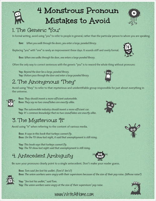 brianwasko:  Four Pronoun Mistakes Poster (edited).