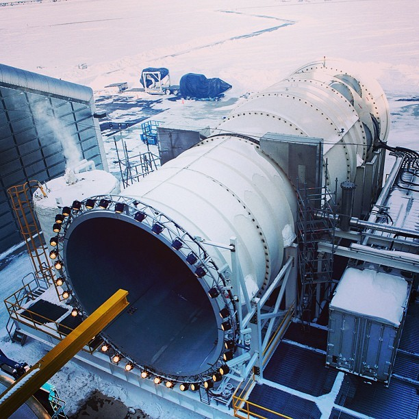 An elevated shot of the wind tunnel at #GE #Aviation's winter testing facility in #Winnipeg, #Canada. Photo by @noahkalina. #technology #manufacturing #avgeek