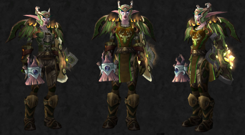 Transmog Challenge 20: Entry 14  For the contest, Cenarian expedition (BC) tabard. Here is the link for the pieces used, I normally use mostly green siegebreaker for this girl, so trying to find a matching mix set was a fun challenge.