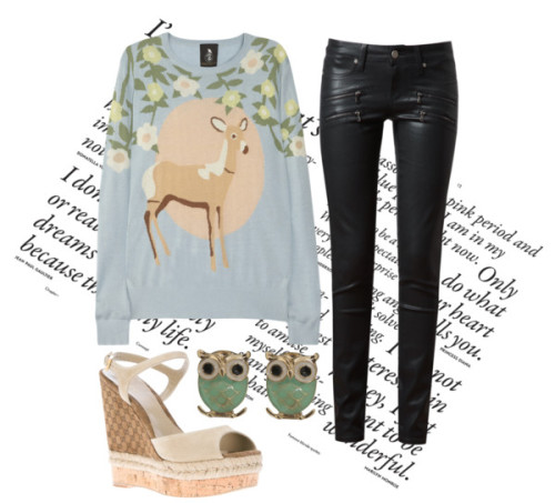 Bambi by bloodchic featuring gucci sandalsMother of Pearl silk sweater / Paige Denim , $440 / Gucci  sandals / Wet Seal owl jewelry