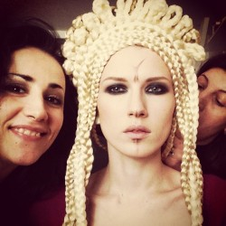Backstage ! Killer work by Elsa Joli (hair) and Guilaine Frichot (make up). Model Deila Vogur.