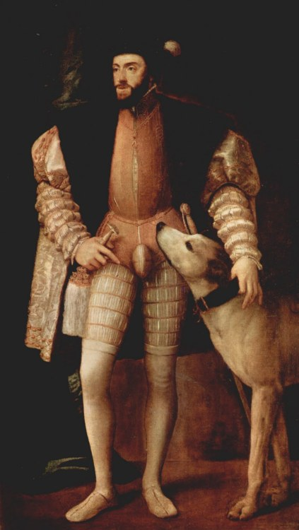 peashooter85:  Renaissance High Fashion —- The Codpiece During the 1500's men's fashion certainly took a turn towards the weird.  By the late middle ages and early Renaissance period the typical outfit for an upper class gentleman was a doublet combined with tight hose or leggings worn over a layer of linen.  However by the early 1500's fashion dictated that male hemlines rise, leaving his genitals only to be covered by a thin layer of linen.  The solution of this embarrassing problem was to cover the groin with a large piece of padded cloth to better hide a man's gibblets.  However by the mid 1500's the styles of codpieces shifted to emphasize the size of a man's exposed manhood rather than conceal.  Codpieces were made in a wide variety of sizes, shapes, and decorations to further accentuate its wearers manhood.  Men of the age were literally in a chauvinistic contest of male genitalia exhibitionism as kings, emperors, and nobles wore larger and gaudier codpieces to show off their large pieces. On occasions suits of jousting armor were made with large, inconspicuous steel pieces.  Fortunately by the late 1500's codpiece mania began to wane so that by the 1600's the codpiece was dropped from men's fashion altogether.