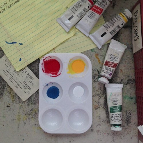 pelletfactory:  #red #yellow #blue #white #gouache #paint #pelletfactory #process